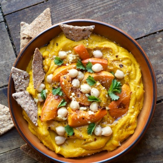 PUMPKIN HUMMUS WITH OVEN ROASTED HOKKAIDO, COCONUT AND GINGER