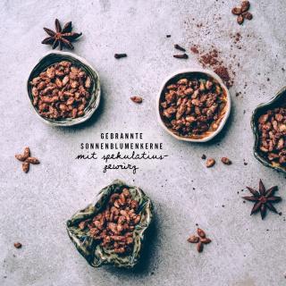 Gebrannte Sonnenblumenkerne mit Spekulatius-Gewürz